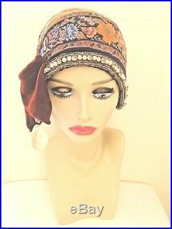 Nocera & Co Cloche Flapper Hat Handmade 100% silk Antique/vintage Crystals Brass