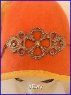 Nocera & Co cloche hat 100% wool felt orange antique/vintage brass and grosgrain