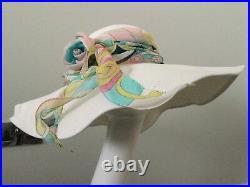 Nwot Vintage Emilio Pucci White Wide Brim Straw Hat Iconic Silk Scarf & Rose