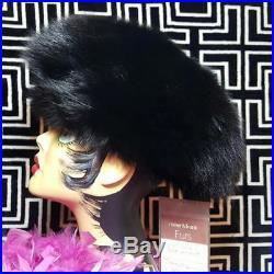 Nwt$500meier & Franknew Vintage Beautiful Genuine Black Fox Fur Hat