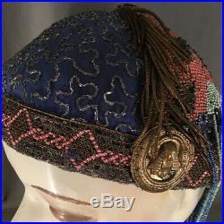 OOAK 1920s Egyptian Revival Long Beaded Fringe Statement Cloche Metallic Bullion