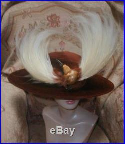 OPULENT Edwardian BIRD OF PARADISE Plumes w Bird HAT Cocoa Velvet WIDE Oval BRIM