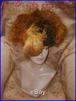 Opulent 1905 Antique Edwardian Hat Huge Golden Ostrich Plumes Topaz Jewel Pin