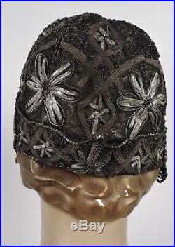 Opulent Flapper 1920s Silver & Gold Lame Cloche Hat W Floral Details