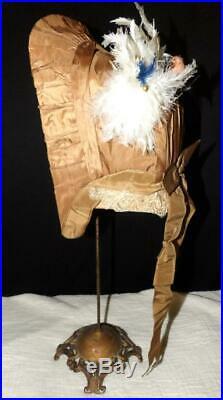 Orig Antique 1850 1860 CIVIL War Ladys Taffeta Flower Dress Gown Bonnet Hat
