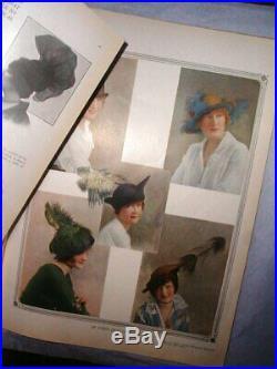 Original 1914 SMART STYLES Millinery Paris Fashion Couture Modes Hats LARGE Book