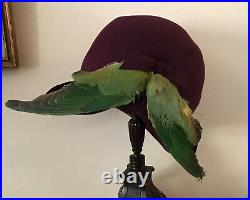 Original 1920s Cloche Hat With Feathers