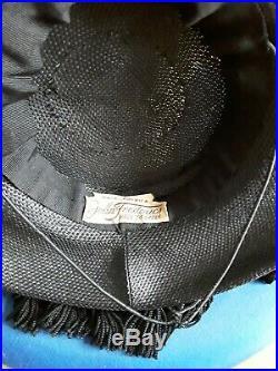 Original 1930/40s WWII Black Hat With Matching Belt Ultra Rare -John Frederics