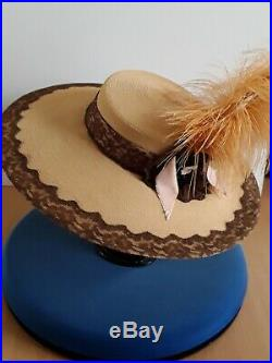 Original 1940s WWII John Frederics Straw Wide Brim Hat with huge Ostrich Feather