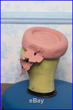 Original 1940s WWII era Pink Doughnut Tilt Topper Hat A showstopper