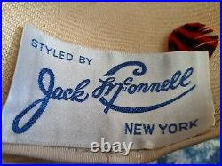 Original Jack McConnell Straw Hat With Silk Flowers