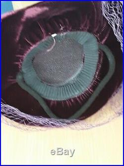 Original late 1930s/Early 1940s Cadbury Purple Velvet Tilt Topper with Veil