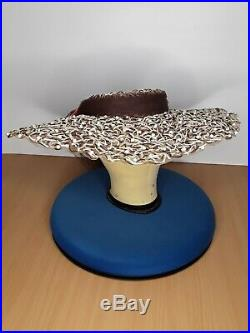 Original vintage 1940s WWII Wide Brim Picture Hat Designer G. Howard Hodge