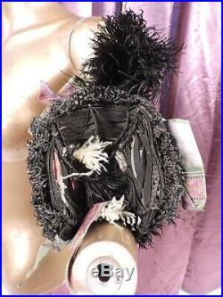 Ornate Victorian 1880s Straw Bonnet Hat W Ribbon & Feather Trims