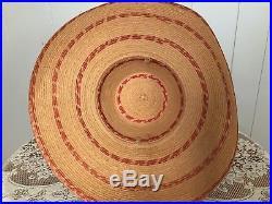 Oversized Straw Sun Hat Wide Brim Woven Summer Beach 30s 40s Vintage Vtg