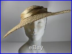 Oversized Straw Sun Hat Wide Brim Woven Summer Beach Antique 30s Vintage Vtg