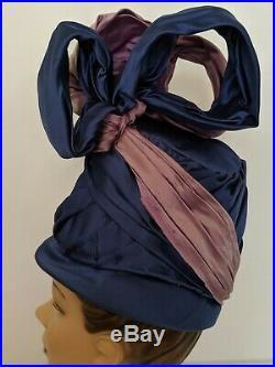 PARAMOUNT STUDIOS Vtg Turban Hat Costume Blue Purple Rhinestone Hollywood 50s