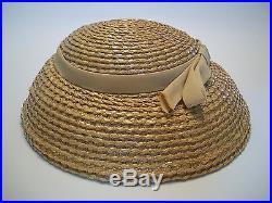 PIKO Paris New York Vintage Straw Hat with Grosgrain Ribbon Circa 1950's