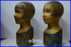 Pair 1920's Papier Mache Girl Hat Stands from Galleries Lafayette Store Paris
