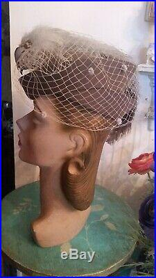 Paramount Studios Vtg 40s Felt Toque Tilt Womens Hollywood Hat