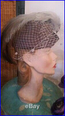 Paramount Studios Vtg 40s Felt Toque Tilt Womens Hollywood Hat Wow