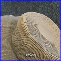 Patricia Underwood Genuine Corded Leather Natural Tan Beige Sun Hat Vintage 7.5