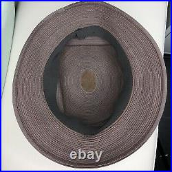 Patricia Underwood Hat Corded Leather Brown Black Bucket S 6-3/4 Vtg