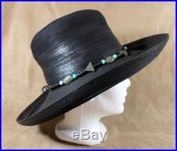 Patricia Underwood NY Black Corded Leather Hat With Southwest Hatband 80s US 7