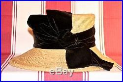 Patricia Underwood Royal Regatta @ Henley Formal Day Hat Straw With Black Velvet
