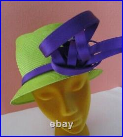 Philip Treacy London Neon Green Purple Asymmetrical Hat Church Derby Wedding