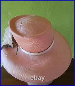 Philip Treacy London Pink Straw Hat Exquisite Silk Flower Feathers Church Derby