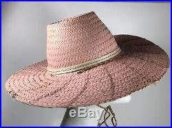 Pink Straw Sun Hat Wide Brim Woven Summer Beach 40s 50s Vintage Vtg