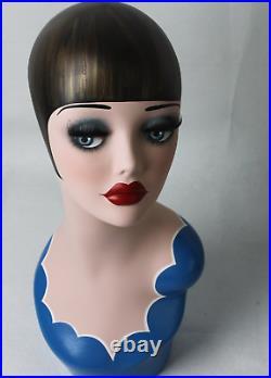 Pro Style Hat Head Mannequin Display Wig Vintage Bust Female Jewelry Fiberglass