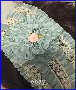 RARE Antique Teens 1920's Flapper Blue Lace Headband Hair Piece Hat