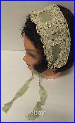 RARE Antique Teens 1920's Flapper Mint Green Lace Headband Hair Piece Hat