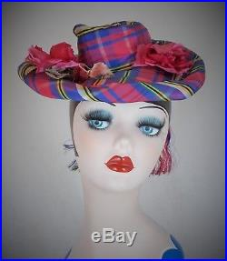 RARE FRENCH 1940s WW11 ERA SILK TAFFETA TARTAN TILT TOPPER HAT VINTAGE TREASURE