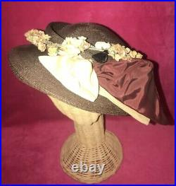 RARE Lovely VINTAGE Brown GLAM Unique FLORAL Bow MAGNIFICENT EarthTone COLOR HAT