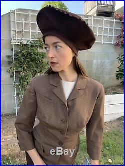 RARE STETSON Vtg 40s STAND UP BERET Womens Hat Brown Wool Bead Rothschild Bros