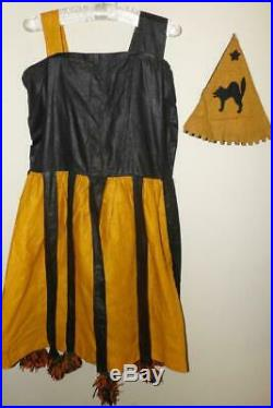 RARE VTG 20s 30s ADULT WOMENS 2PC DRESS CAT HAT HALLOWEEN COSTUME OUTFIT S Small