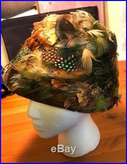 RARE VTG ORIG'MISS DIOR' BY Christian DIOR MULTICOLORED FEATHERED HAT, LABELED