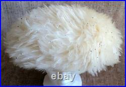 RED FEATHER Vtg JACK MCCONNELL Bubble HAT White Feathers with Sprinkle RHINESTONES