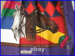 Ralph Lauren Blue Label Vtg Collection Equestrian Skirt Horse Head % Hat Silk