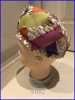 Rare 1960s Christian Dior Handmade Beaded Multicolour Beret Hat Couture Ordered