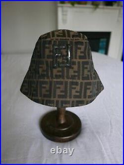 Rare Authentic Vintage Fendi Zucca Monogram Sailor Brim Bucket Hat Made In Italy
