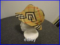 Rare Burberry Bowler Hat-plaid- Women's Small/button Crown- Vintage- 100% Cotton
