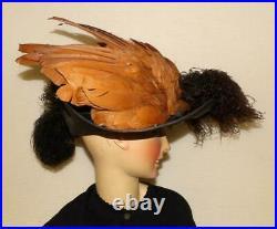 Rare Edwardian Titanic Teens Black Straw Huge 2 Type Ostrich Feathers Dress Hat