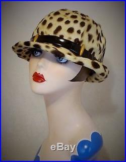 Rare Leopard Fur Hat By Paulette Dupuis Paris Wonderful Condition Circa 1960