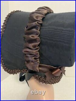 Rare Orig Early Victorian 1840 1850 Poke Spoon Dress High Brim Bonnet Hat