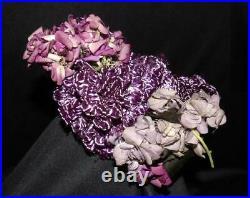 Rare Orig Victorian Antique Purple Straw W Bouquet Flowers Gown Dress Bonnet Hat