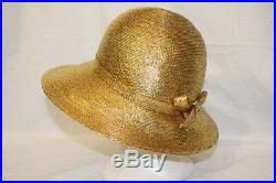 Rare Signed Frank Olive For Neiman Marcus Gold Woven Hat Small Plus Box (00)